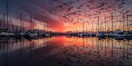 Landscape Yacht Sunrise Clouds