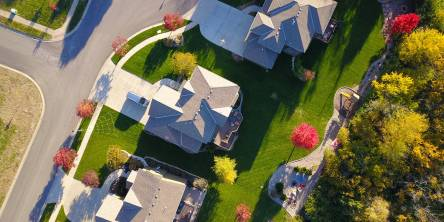 Overhead view of a row of houses.
