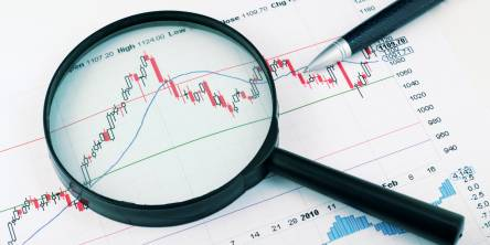 Magnifying glass stock market