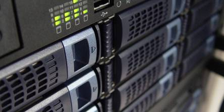 Closeup photo of a set of servers