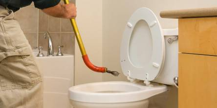 Unclogging toilet drain