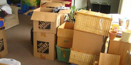 Packed boxes for moving