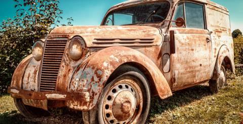 wrecked car, junk car, scrap