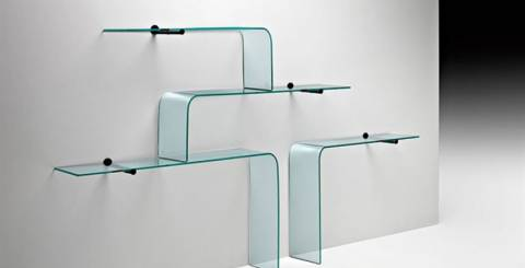 Clear Glass Wall Shelves