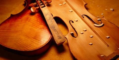 Repaired violin