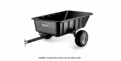 1000lbs Towed Poly Dump Cart by Plant Craft