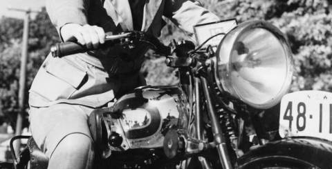 woman on a motorcycle