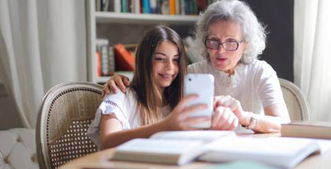 Older woman and a young girl taking a selfie.