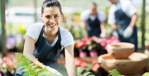 happy woman in the garden